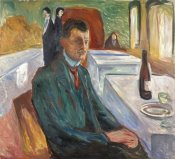 Edvard Munch - Self-Portrait with a Bottle of Wine, 1906