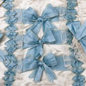 Unknown 18th Century Swedish Needleworker - Detail of blue ribbon work on a child's silk shirt, ca. 1775