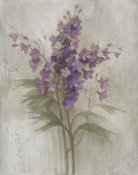 Albena Hristova - Purple Larkspur Garden on Grey