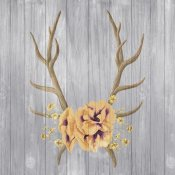 Elyse DeNeige - Antlers and Poppies I Sq Spice