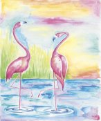 Elyse DeNeige - Bright Flamingos I