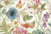 Lisa Audit - Rainbow Seeds Flowers I on Wood Cream