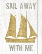 Michael Mullan - Beachscape V Boat Quote Gold Neutral