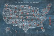 Michael Mullan - US City Map on Wood Blue