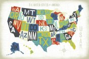 Michael Mullan - Letterpress USA Map