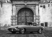 Gasoline Images - Roadster in front of Classic Palace (BW)