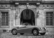 Gasoline Images - Luxury Car in front of Classic Palace (BW)
