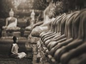 Pangea Images - Young Buddhist Monk praying, Thailand (sepia)