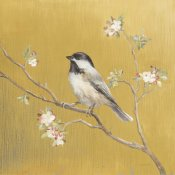 Danhui Nai - Black Capped Chickadee on Gold