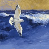 Shirley Novak - Seagulls with Gold Sky II