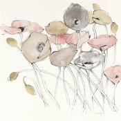 Shirley Novak - Black Line Poppies I Watercolor Neutral