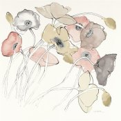 Shirley Novak - Black Line Poppies II Watercolor Neutral