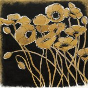 Shirley Novak - Gold Black Line Poppies I
