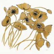 Shirley Novak - Gold Black Line Poppies II