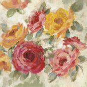 Silvia Vassileva - Brushy Roses Crop with Teal