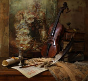 Andrey Morozov - Still Life With Violin And Painting