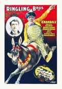 Hollywood Photo Archive - Ringling Bros - Crandall And His Comic Burlesque Equestrian Act On His Riding Mule Thunderbolt