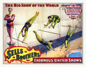 Hollywood Photo Archive - Sells Brothers Enormous United Shows - The Great Costellos - On The Aerial Horizontal Bars