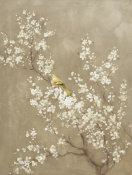Danhui Nai - White Cherry Blossom II Neutral Crop Bird