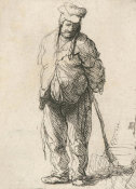 Rembrandt van Rijn - Ragged Peasant with His Hands behind Him, Holding a Stick, 1630