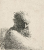 Rembrandt van Rijn - Bust of an Old Bearded Man, Looking Down, Three-Quarters Right, 1631