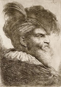 Giovanni Benedetto Castiglione - Bearded Man Wearing a Bonnet with a Plume, ca. 1648-1650