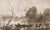 Jean-Baptiste-Camille Corot - Boatman on Pond, 1862