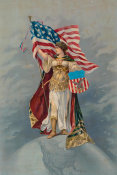 Unknown 19th Century Lithographer - American Brew Co. - Columbia holding the American Flag, 1890