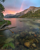 Tim Fitzharris - Sunset and rainbow at Lake Tenaya and Sierra Nevada, Yosemite National Park, California