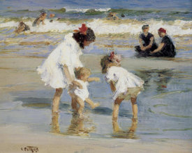 Edward Henry Potthast - Children Playing At The Seashore