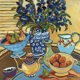 Suzanne Etienne - Blue And White With Oranges