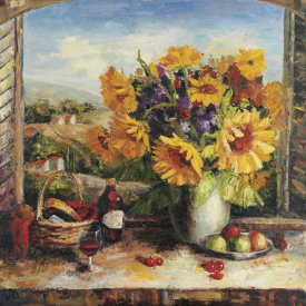 Hong - Sunflowers With Fruit And Wine II