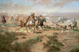 Charles M. Russell - The Attack On The Wagon Train