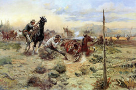 Charles M. Russell - When Horse Flesh Comes High