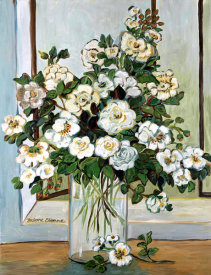 Suzanne Etienne - White Roses in Blue