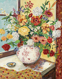 Suzanne Etienne - Flowers in Red & White Vase