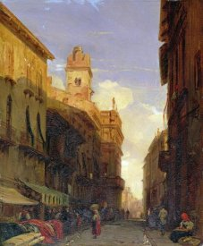 Richard Parkes Bonington - A View of Prince Maffei's Palace, Verona