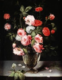 Ambrosius Brueghel - Roses and Carnations In a Glass Vase On a Stone Ledge