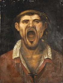 Agostino Carracci - A Peasant Man, Head and Shoulders, Shouting