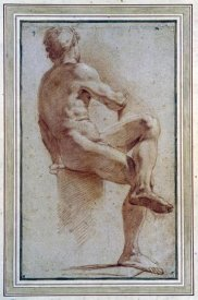Annibale Carracci - A Male Nude Seated With His Back Turned