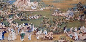 Chinese School - A Lake Scene With Figures Celebrating a Festival
