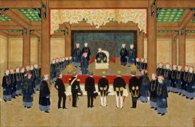 Zhou Pei Chun - A Mandarin Receiving European Diplomats at His Court