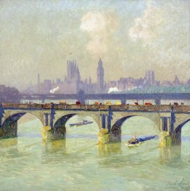 Emile Claus - Waterloo Bridge and Hungerford Bridge With The Houses of Parliament Beyond