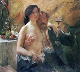 Lovis Corinth - Self Portrait With Nude Woman and Glass