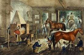 Currier and Ives - Trotting Cracks' at The Forge