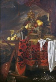 Jan Davidsz De Heem - A Basket of Mixed Fruit With Gilt Cup