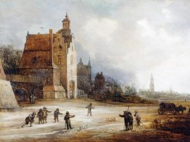 Frans De Momper - Soldiers Playing Skittles On a Road
