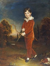 Arthur William Devis - Young Boy In a Red Suit, Holding a Bow and Arrow