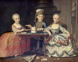 Francois-Hubert Drouais - Boy In Blue Building a House of Cards, With Two Girls