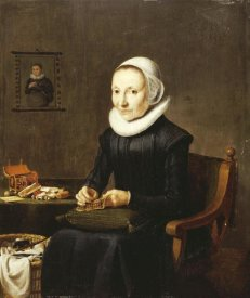 Dutch School - Portrait of An Old Lady, Embroidering